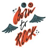 Born to rock. Hand drawn lettering with wings, stars and bloody eyeballs. Stock Photos