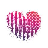 Born in usa, heart with american flag, patriotic Stock Photo