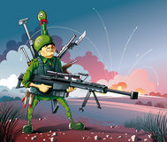 Born on war. Armed soldier stand under cross fire royalty free illustration
