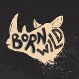 Born wild. Rhino head on grunge background. T-shirt print template Royalty Free Stock Photos