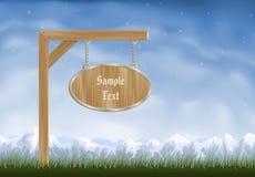 Borne de sinal de madeira oval Imagens de Stock Royalty Free