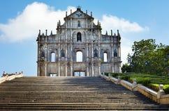 Borne limite d'église de ruines de rue Paul de Macao, menton Image stock