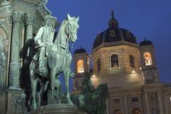 Borne limite de Vienne dans la nuit Photographie stock libre de droits