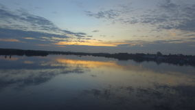 Borneo湖日落风景 免版税库存照片