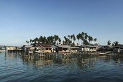 Borneo fishing village mabul island stitl houses Royalty Free Stock Image