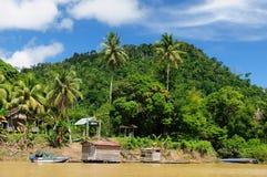 borneo Indonesia rzeczna stilt wioska Fotografia Stock