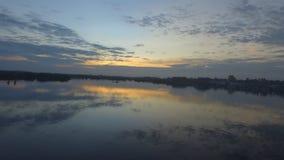 Borneo landskap för sjösolnedgång Royaltyfri Foto