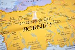 Borneo map. Macro shot of borneo map with push pin royalty free stock photo