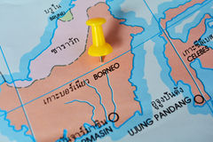 Borneo map. Macro shot of borneo map with push pin royalty free stock image