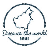 Borneo Map Outline. Vintage Discover the World. Borneo Map Outline. Vintage Discover the World Rubber Stamp with Island Map. Hipster Style Nautical Insignia vector illustration