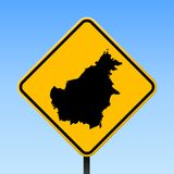 Borneo map on road sign. Square poster with Borneo island map on yellow rhomb road sign. Vector illustration vector illustration