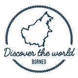 Borneo mapy kontur Rocznik Odkrywa świat ilustracja wektor