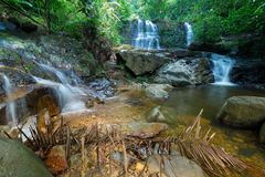 Borneo rain forest waterfall, idyllic stream flowing in the lush green jungle of Kubah National Park, Sarawak, Malaysia. Blurred e. Ffect on water, long exposure Stock Images