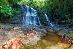Borneo rain forest waterfall, idyllic stream flowing in the lush green jungle of Kubah National Park, Sarawak, Malaysia. Blurred e. Ffect on water, long exposure Royalty Free Stock Images