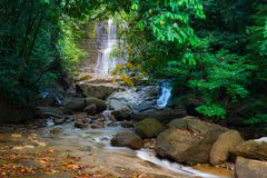 Borneo rain forest waterfall, idyllic stream flowing in the lush green jungle of Kubah National Park, Sarawak, Malaysia. Blurred e