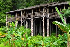 Borneo sarawak tribal longhouse architecture. A photograph of the ethnic architectural long house building of the bornean jungle tribe of Orang Ulu, native Stock Photo
