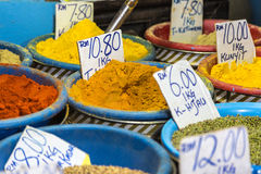 Borneo spices. Spices displayed in a market in Kuching, Sarawak, Borneo island, Malaysia Royalty Free Stock Photos