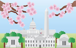 Bornes limites de Washington DC avec la fleur de cerise illustration libre de droits