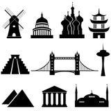 Bornes limites et monuments du monde Images libres de droits