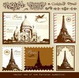 Bornes limites et symboles de Paris Photo stock
