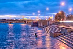 Bornes pendant l'inondation à St Petersburg Russie Photos libres de droits