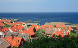 Bornholm. Red roofs of the small town at Bornholm stock image