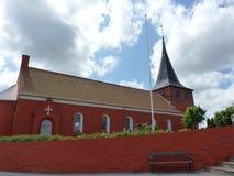 Bornholm. Denmark, Bornholm Island. Svaneke town. Beautiful evangelical church royalty free stock photos