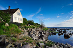 Bornholm island landscape. With house on seaside stock photo