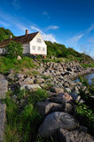 Bornholm island landscape. With old house on the seaside, Denmark, Europe stock photo
