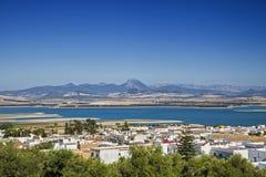 Bornos. View of Bornos village and reservoir, Spain Stock Photography