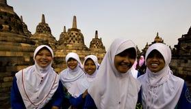Borobodur寺庙的学生在印度尼西亚 库存图片