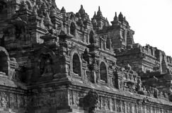Borobodur in black and white Royalty Free Stock Photo