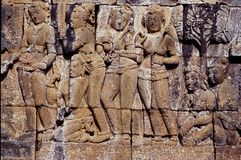 Wall relief in temple complex of Borobodur, Java, Indonesia stock images