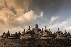 BOROBUDOR, A WORLD HERITAGE LIST NUMBER 592, BUILT IN THE 8TH CENTURY. Royalty Free Stock Photo