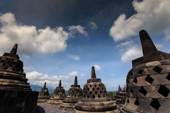 BOROBUDOR, A WORLD HERITAGE LIST NUMBER 592, BUILT IN THE 8TH CENTURY. Royalty Free Stock Photography