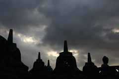 borobudur中央印度尼西亚Java寺庙 库存照片