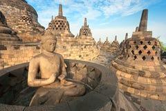 Borobudur寺庙,日惹, Java,印度尼西亚。 免版税库存图片