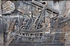 borobudur被雕刻的stoneat寺庙 免版税库存照片