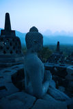 borobudur黄昏印度尼西亚Java 库存图片