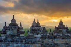 Borobudur świątynia przy wschodem słońca, Jawa, Indonezja Obraz Royalty Free