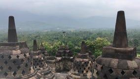 Borobudur świątynia w Jawa, Indonezja podczas zmierzchu na Chmurnym dniu zbiory