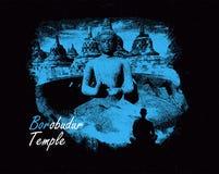 Borobudur Świątynny cud świat z sztuką royalty ilustracja