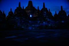 Borobudur bij nacht, Java, Indonesië Stock Afbeeldingen