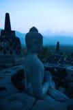 Borobudur bij Schemer, Java, Indonesië Stock Afbeelding