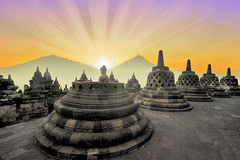 Borobudur Buddhist temple at sunrise Stock Image