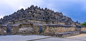 Borobudur buddhistischer Tempel, Java, Indonesien Stockfotos