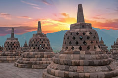 Borobudur Buddist Temple in island Java Indonesia at sunset Stock Photography