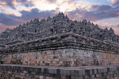 Borobudur Buddist Temple in island Java Indonesia at sunset Royalty Free Stock Photo