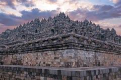 Borobudur Buddist Temple in island Java Indonesia at sunset Royalty Free Stock Photo