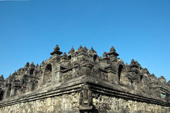 Borobudur with clear blue sky Royalty Free Stock Photos